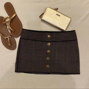 Alice + Olivia Plaid Wool Mini Skirt